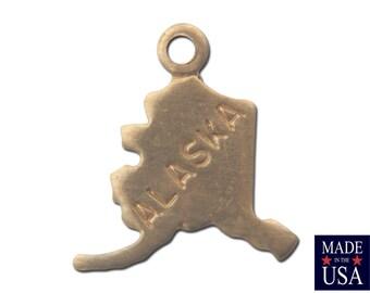 Raw Brass Tiny Alaska State Charm Drops (6) chr201U