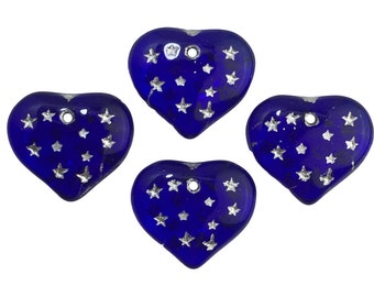 Cobalt Blue Hearts W/ Silver Painted Engraved Star Beads 14x12mm (8) bds1011A