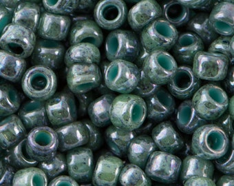Marbled Opaque Turquoise / Blue Toho Seed Bead 8/0 TR-08-1207