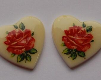 Vintage Red Rose Floral Glass Heart Cabochons Japan 25mm (2) cab609