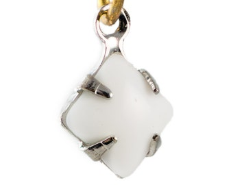 Opaque White Square Glass Stones 1 Loop Silver Setting 6mm squ013X