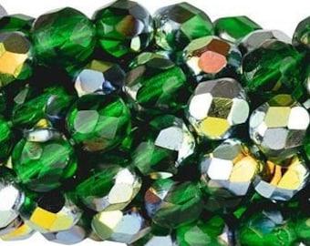 Czech Faceted Marea Green Emerald Firepolish Glass Beads 6mm (25)