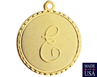 Gold Plated Letter E Initial Charm Drop with Loop (1) chr215E