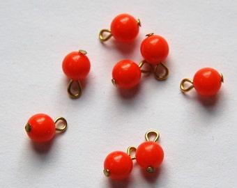 Vintage Orange Coral Acrylic Bead Drops Japan 6mm drp045