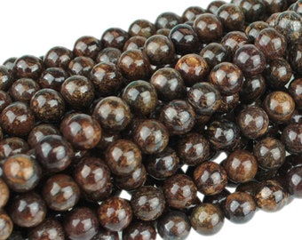 "Dakota Stones Bronzite 6mm Round Gemstones. 8"" Strand. BRZ6RD-8"