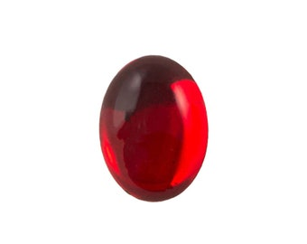 Transparent Ruby Foiled Glass Oval Cabochons 18x13mm (2) cab4005A
