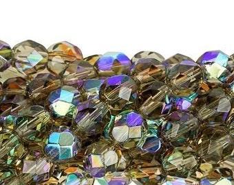 Czech Faceted Black Diamond AB Firepolish Glass Beads 6mm (25)