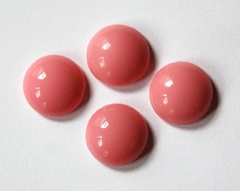 Vintage Pink Glass Cabochons 13mm cab704R