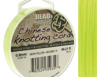 Neon Yellow Chinese Knotting Cord (.8mm/.031in) 15m/16.4yds