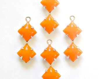 Opaque Orange Square Glass Stones 1 Loop Double Silver Setting 6mm squ013M3