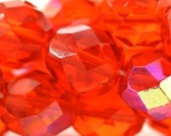 Czech Faceted Hyacinth AB Firepolish Glass Beads 6mm (25)