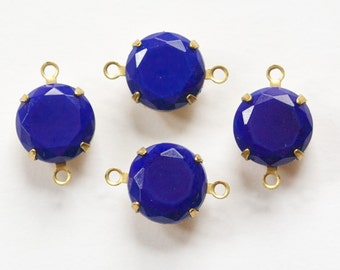 Vintage Blue Faceted Glass Stones 2 Loop Brass Settings 12mm rnd004R2