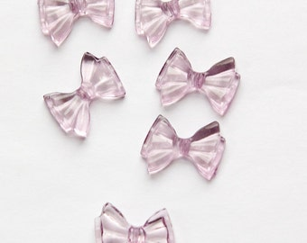 Vintage Light Translucent Purple Plastic Bow Beads bds262B