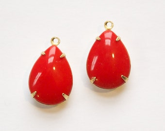 Pear Drop Opaque Red Brass Settings Vintage Jewels 2 Pieces CLEARANCE 20X13mm