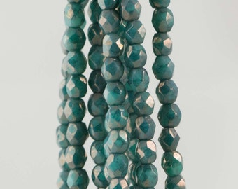 Firepolish Czech Faceted Moon Dust Turquoise Glass Beads 3mm (50)