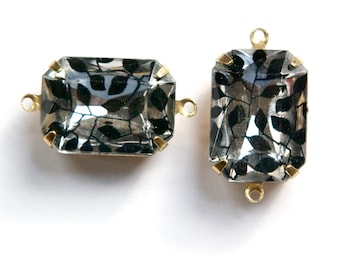 Vintage Clear Acrylic Stones with Black Ivy Design 2 Loop Brass Settings 18X13mm squ004F2