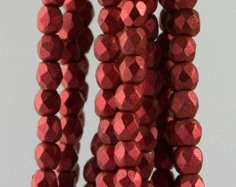 Firepolish Czech Faceted Matte Metallic Lava Glass Beads 3mm (50) 1-03-K0189
