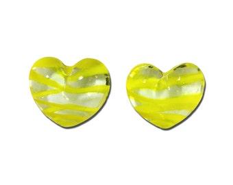 Transparent Limoncello Yellow Striped Glass Hearts  25x22mm (2) gyb012E