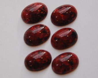 Vintage Red Speckled Acrylic Cabochons 18x13mm cab726B