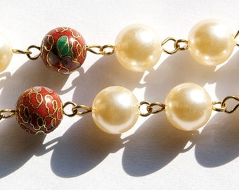 Vintage Red Cloisonne and Pearl Beaded Chain 10mm chn071