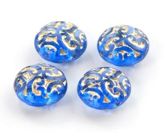 Elegant Czech Brocade Sapphire Blue with Gold  Beads 14mm (4) bds772