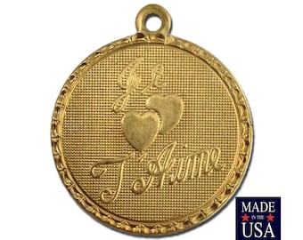 Raw Brass Je T ' Aime I Love You  Word Charm Drop with Loop (4) chr187EE