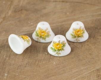 Vintage Yellow Rose on White Glass Bell Beads Japan 12mm (4) jpn011B