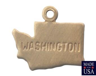 Raw Brass Tiny Washington State Charm Drops (2) chr202F