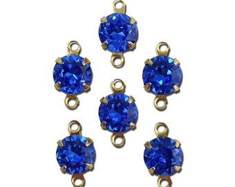 Vintage Sapphire Faceted Glass Stone 2 Loop Gold Setting Drops 7mm (6) rnd017MM2