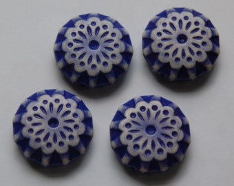 Blue and Cream Vintage Etched Lace  Flower Beads 28mm bds807C