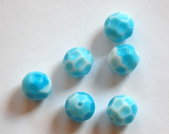 Vintage Unusual Blue and White Faceted Beads Germany  grm036
