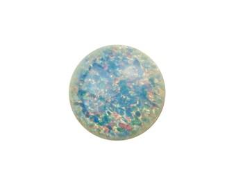 Czech Light Blue Foil Opal Glass Cabochons 9mm (2) cab3004C
