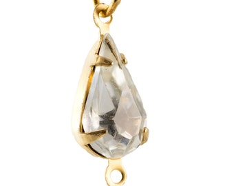 Vintage Clear Faceted Glass Teardrop Stone in 2 Loop Brass Setting 13x8mm (4) par003PP2