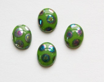 Vintage Green Glass Peacock Cabochons Germany 10X8mm cab792D