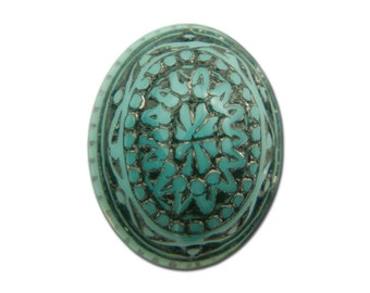 Vintage Mosaic Turquoise Blue and Black Cabochons 10x8mm (8) cab714S