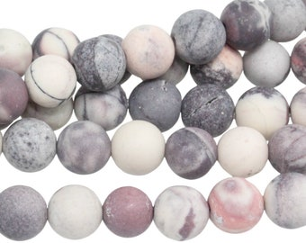 "Dakota Stones Matte Porcelain Jasper 6mm Round Gemstones. 8"" Strand. PCL6RD-M-8"