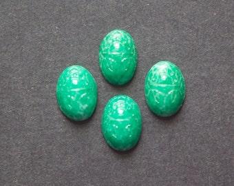 Vintage Mottled Jade Green Scarab Glass Cabochons 14X10mm (6) cab319KK