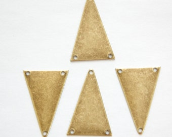 3 Hole Brass Ox Geometric Narrow Triangle Pendant Charm (6) mtl511B