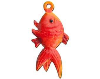 Vintage Metal Orange and Red Fish Charms 23mmx12mm (4) chr176G