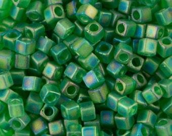 Matte Transparent Green Ab Miyuki Cube Seed Bead 1.8mm 8.2gm Tube SB18-146FR-TB