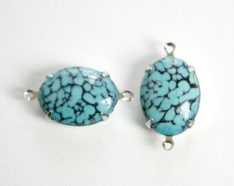 Vintage Turquoise Matrix Stones 2 Loop Silver Plated Setting 18x13mm ovl004W2
