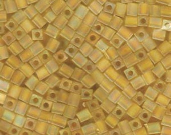 Transparent Frosted Rainbow Yellow Miyuki Cube Seed Bead 4mm 20gm Tube SB4-136FR-TB