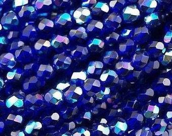 Czech Faceted Cobalt AB Firepolish Glass Beads 6mm (25)