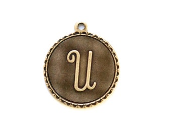 Brass Ox Letter U Initial Charm Drop with Loop (1) chr195U