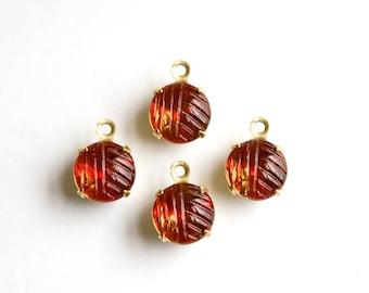 Vintage Etched Cranberry Topaz Glass Stone 1 Loop Brass Setting Drops 8.5mm (4) rnd009H