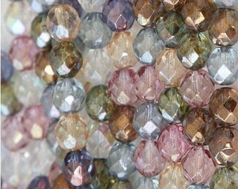 Czech Faceted Luster Mix Firepolish Glass Beads 6mm (25)
