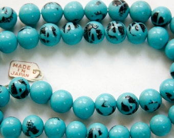 Vintage Opaque Blue Turquoise with Black Designs Glass Beads Japan 8- 9mm (6) jpn005C