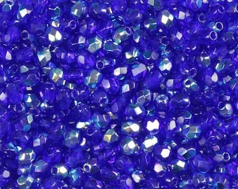Czech Faceted Cobalt AB Fire Polish Glass Beads 3mm (50)