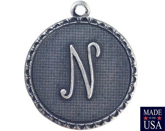 Sterling Silver Ox Plated Letter N Initial Charm Drop with Loop (1) chr214N