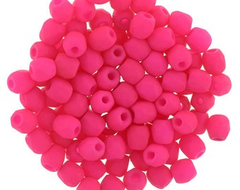 Czech Faceted Neon Pink Fire Polish Glass Beads 3mm (50)